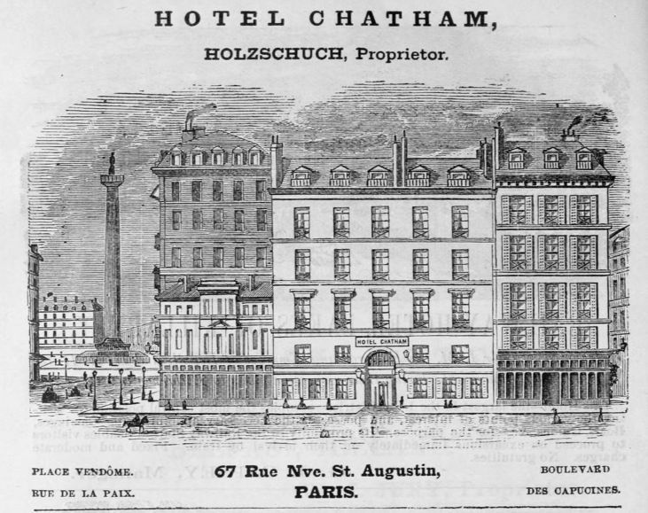 1885_Hotel_Chatham_Paris_ad_Harpers_Handbook_for_Travellers_in_Europe
