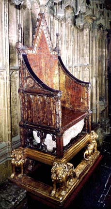 The Coronation Chair and Stone of Scone.